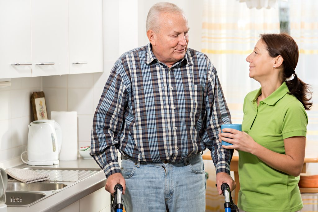 Care worker supporting with respite care
